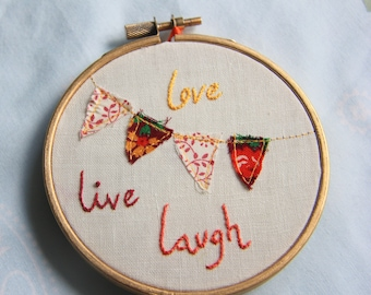 """Love Live Laugh 4"""" Embroidery Hoop"""