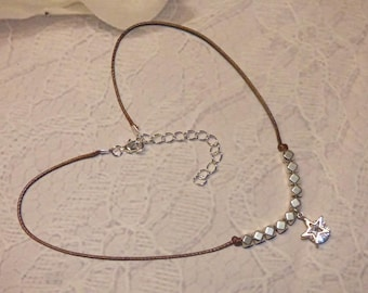 METAL AND STAR CUBIC ZIRCONIA BEAD NECKLACE