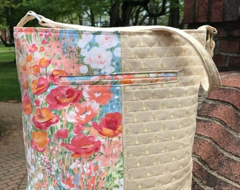 Watercolor Poppies Bucket Bag