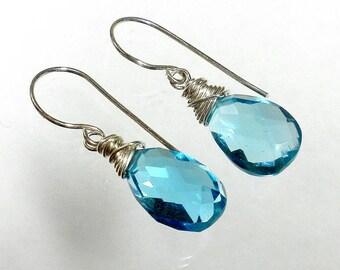 Blue Drop Earring, Blue Quartz Earring, Blue Briolette Earring, Swiss Blue Earring