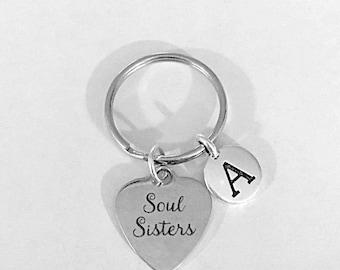 Soul Sisters Keychain, Best Friend Gift, Best Friend Keychain, Best Friends Forever Initial Keychain, Letter Keychain