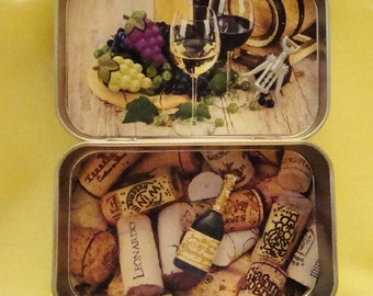 Altoids tin, decorated, wine tasting, magnets