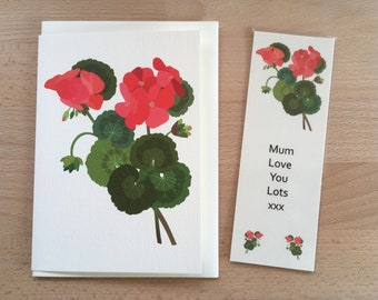 Geranium Flower Gift, Bookmark and Card, Personalised, Birthday Gift, Gift for Her, Booklover Gift, Bookworm Gift, Floral, Card and Gift