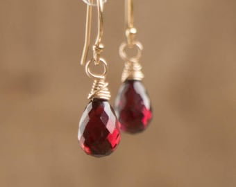 Garnet Earrings in Silver, Gold or Rose Gold, January Birthstone, Teardrop Dangle Earrings, Pyrope Garnet Jewelry, Gemstone Drop Earrings