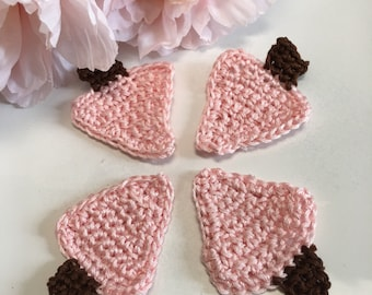 Crochet Cotton Pink Christmas Trees, Shabby Christmas, Set of 4,