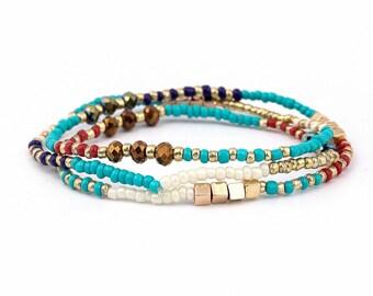Wrap Around Bracelet // Beach Bracelet // Trible Bracelet // Beads Bracelet // Hippie Bracelet // Multistrand Bracelet // Stretch Bracelet