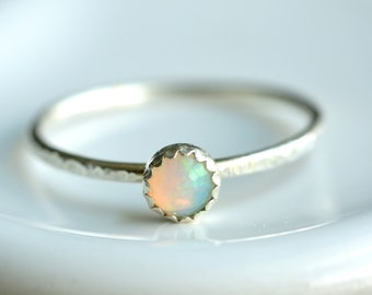 4mm tiny opal ring - custom sized stacking ring - textured band - sterling silver