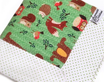 Woodland Creatures Baby Blanket, Flannel Blanket, security blanket, lovey blanket, nursing blanket, baby gift