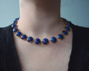 Lapis Lazuli Collet Necklace. Riviere Necklace. Blue and Gold Collet. 18th Century Jewelry, Regency, 18th Century, 19th Century, Josephine.