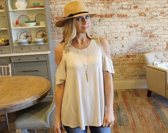 ADORABLE Oatmeal Cold Shoulder Tunic for Women | Must-Have for Spring and Summer!