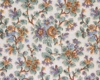 1920s Vintage Antique Wallpaper Gold Purple Flowers on White by the Yard