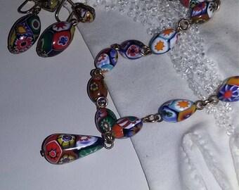 True Vintage Murano Glass Bead Necklace Earrings Set Demi parure Multicolored FABULOUS