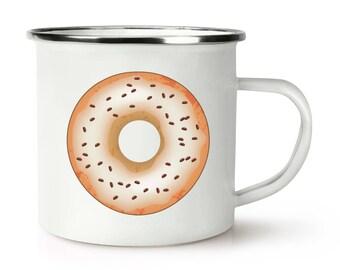 Coffee Glazed Doughnut Donut Retro Enamel Mug Cup
