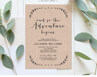 Printable Bridal Shower Invitation Template | Rustic Wedding Shower Invite | The Adventure Begins | Instant Download | Editable #031-129BS