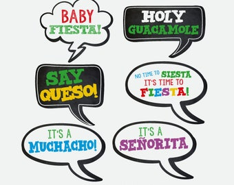 Fiesta Baby Shower Photo Booth Props, Printable Photobooth Props, Instand Download