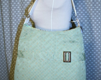 Pale Green Fabric Tote Bag, Commuter Bag, Fabric Work Tote Bag - Chelsea Bag