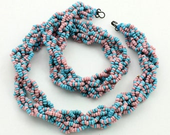 Vintage Plaited Bead Necklace, Multi Strand, Blue and Pink, Woven Necklace, Glass Seed Beads, Two Tone Necklace, Rope Necklace