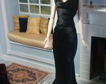 "Black Hammered Satin Evening Gown for Slender 16"" Dolls like Jamieshow, Numina"