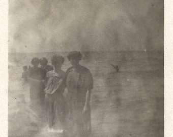 """Vintage Photo """"Ghostly Swimmers"""" Darkroom Exposure Mistake 1910's Women Swimming Costumes Found Vernacular Photo"""