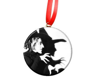 """Wizard of Oz Wicked Witch Black & White  2.25"""" Christmas Tree Ornament"""