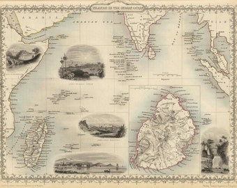 Antique map of Islands in the Indian Ocean, 1851, Mauritius old map, fine art print