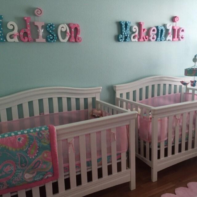 Nursery wall decor Wood letters 6 letter set Kids room