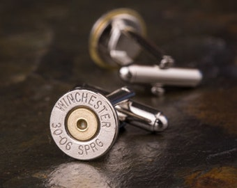 Bullet Cufflinks, Winchester 30-06 Nickel Bullet Cufflinks, Wedding Cufflinks, Wedding Cuff Links, Bullet Cuff Links, 30-06 Cuff Links
