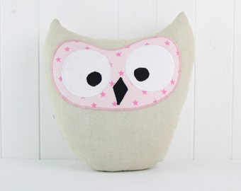 Gray and Pink Owl Pillow, Owl Plushie, Pastel Owl Plushie, Gray Pink Owl, Stuffed Owl, Owl Pillow