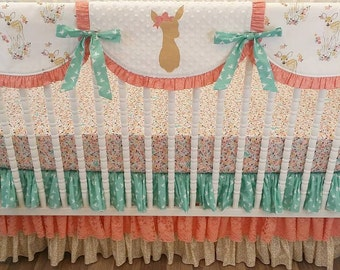 Girl Crib Bedding- Fawn BUMPERLESS Crib Bedding- Girl Baby Bedding- Deer Nursery Bedding- Coral and Mint Fawn Bedding