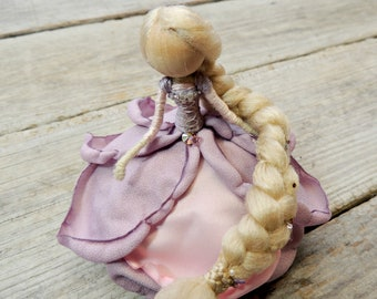 Rapunzel Bendy Doll ~ Flower Princess ~ Waldorf Fairy Rose Doll~ Fairy Princess ~ Pink Purple Charm Figurine Art Doll