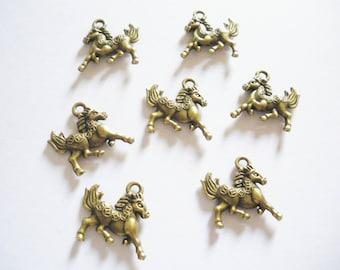 2 antique bronze 3D horse charms