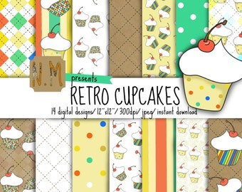 Cupcakes digital paper pack, retro cupcakes digital pattern, cupcakes scrapbooking paper with yellow, red and green polka dots and stripes