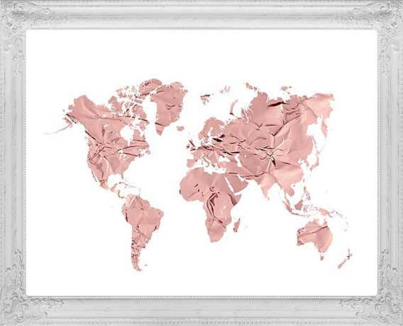 Rose Gold World Map Art Rose Gold Map Rose Gold Map Print - Pink world map poster