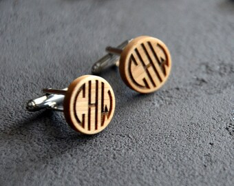 Boyfriend Husband Gift Monogram Wooden Cufflinks Personalized Engraved Custom Cuff links Business Man Gift for Dad Guy Boss Jewelry for Men