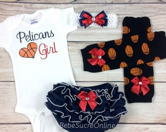 Pelicans Girl, Baby Basketball Outfit, Cheerleader Game Day Outfit