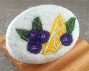 Felted Soap - Lemon Blueberry Scented with Coordinating Design