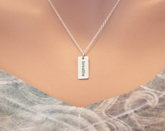 Sterling Silver Breathe Charm Necklace - Choose Your Font, Breathe Necklace, Breathe Pendant Necklace, Breathe Charm Necklace, Just Breathe