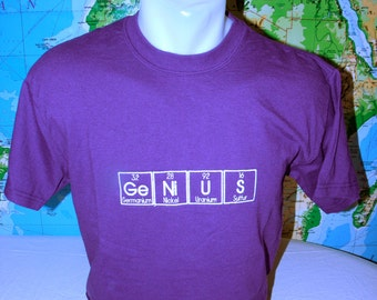GeNiUS T-shirt READY to SHIP Embroidered in Periodic Table Letters Short Sleeve T