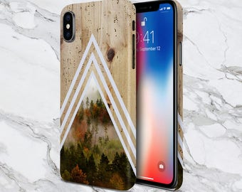 Galaxy s9 Phone Case - iPhone X Phone Case - iPhone 8 Case - Tough iPhone Case - Samsung Galaxy - Chevron Dense Forest x Tree Bark Wood Case