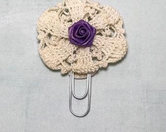 Purple rose and doily