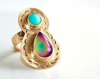 Mood Ring * Color Changing Ring * Mood Jewelry * Statement Ring * Cocktail Ring * Boho Ring * Stone Ring * Colorful Ring * Multi Stone Ring