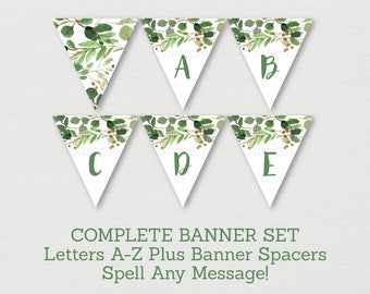 Green Floral Bridal Shower Banner / Green Floral Bridal Shower / Watercolor Floral / Miss To MRS / Letters A-Z /  INSTANT DOWNLOAD B115