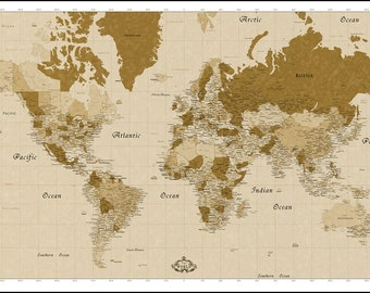 Detailed world map etsy huge world map detailed map of the world up to 8feet x 5feet wall gumiabroncs Image collections