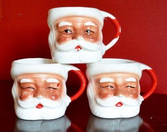 Santa Face Mugs, Set of 3, Santa Head Cups, Vintage JAPAN Christmas Decorations, Christmas Kitsch