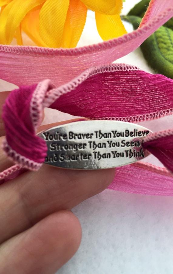 Brave Wrist Bracelet, Pink Ribbon Wrap Charm, CrossFit Strong Smart Jewelry, Inspirational Silk Wrap, Motivational Athlete Coach Wrap Gifts