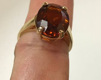 14K Yellow Gold with 5ct. Garnet Ring Size 4.75