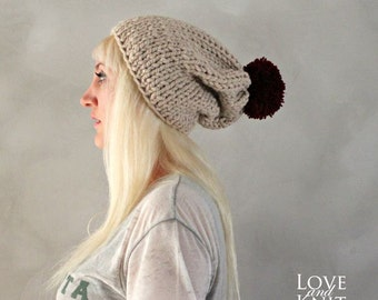 Pom Pom Beanie- Beige Slouchy Beanie- Christmas Hat- Gift for Her Hand Knitted Beanie- Christmas Gift Winter Accessories Handmade Beanie