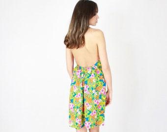 70's Mini Halter Dress // Deadstock // Handmade vintage dress, 70s 1970s vintage, mini dress, summer spring dress