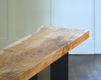 north   west console - from urban salvage live edge maple and recycled content steel - natural edge - coffee table, desk