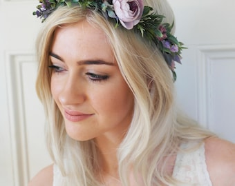 Purple crown, purple, flower crown, Woodland crown, berry crown, purple halo, boho headpiece, purple hairpiece, wildflower crown